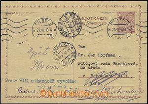 54573 - 1940 CDV7 Linden Leaves, used, MC Plzeň 3/ 21.XI.40, redire