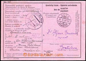 54610 - 1941 reply form (No. 22) from předvolánky, CDS Bratislava