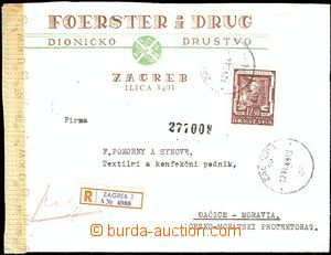 54683 - 1944 Reg letter to Bohemia-Moravia, with Mi.149, 2x CDS Zagr