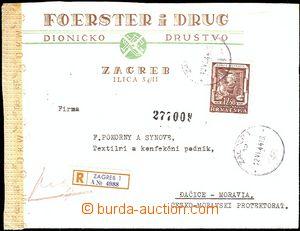54683 - 1944 R dopis do ČaM, vyfr. zn. Mi.149, 2x DR Zagreb/ 12.VI.