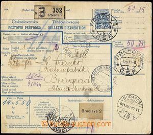 54813 - 1931 larger part of parcel card with revenue 50h (1925), to
