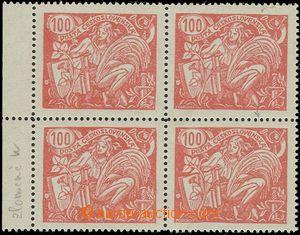 54827 - 1923 Pof.173A I.typ, krajový 4-blok, u obou zn. ve 2. sloup