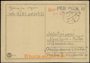 54847 - 1938 card with  FP cachet postmark Infantry Regiment 81/ 9.