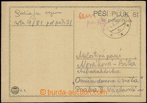 54847 - 1938 lístek s  útvarovým razítkem Pěší pluk 81/ 9. po