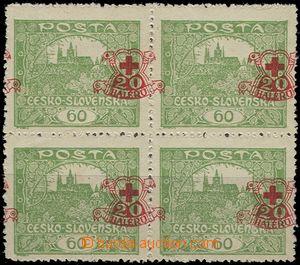 55010 - 1920 Pof.171 ve 4-bloku, větší vodorovný posun přítisk