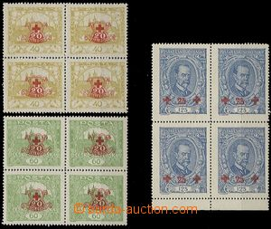 55012 - 1920 Pof.170-172, in blocks of four, 1x with lower margin, 2