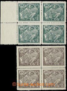 55015 - 1920 Pof.164A + 167A, ve 4-blocích, č.167 úzké nuly a 2x
