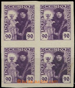 55017 - 1920 Pof.163ZT Hussite-issue, block of four in colour violet
