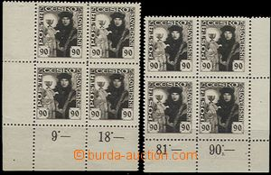 55018 - 1920 Pof.163 Hussite-issue, L and LR block of four with marg