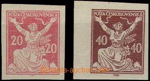 55029 - 1920 Pof.151N + 154N/II., 1x krajový kus, zn. 20h šikmý l