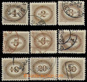 55211 - 1894 Porto  Mi.P1-9 Doplatní, kompl. série 9ks, různá razítk