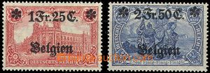 55228 - 1914 BELGIUM - country post, Mi.8-9, highest value, hinged,