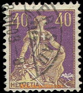 55235 - 1908 Mi.101x/I.typ Helvetia, postmark clear but overlapping