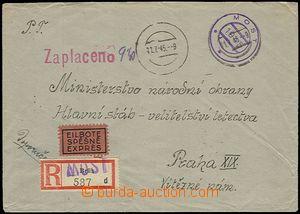 55343 - 1945 Ex + Reg letter franked 9,40CZK cash, rubber hand stamp