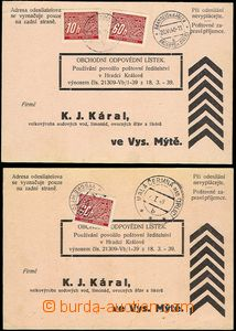 55435 - 1940 uncashed response cards burdened by postage-due, 2 pcs