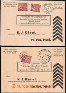55435 - 1940 nevyplacené odpovědní lístky zatížené doplatným