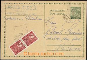 55436 - 1940 CDV1 s DR Kbely 7.XI.40, po zvýšení poštovného zat