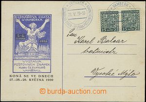 55450 - 1939 postcard franked Czechosl. stamps Coat of arms 2x 25h,