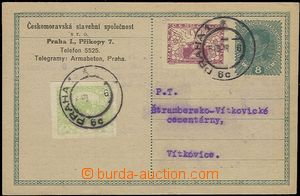 55460 - 1919 CPŘ3 8h Charles with uprated by. Czechosl. stamps expr