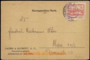 55501 - 1919 firemní lístek fy Laurin & Klement A.G.,  vyfr. zn. 1