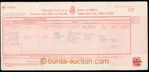55521 - 1942 birth certificate with usage stamps as revenue, father