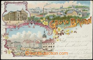 55603 - 1898 Brno - lithography Gruss aus Brünn; long address, Us,