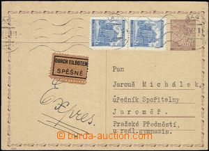 55616 - 1942 CDV11 sent as express with uprated by. pair stamp. Pof.