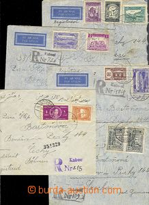 55637 - 1938-39 sestava 5ks R-dopisů zaslaných do ČSR ev. ČaM, z