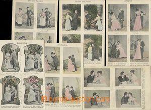 55644 - 1906 sestava 6ks 4-okénkových pohlednic s tématikou vztah