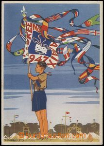 55645 - 1947 French postcard with scout theme; large format, Un, wri