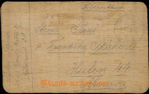 55653 - 1915 card on/for wooden veneer, illegible line military unit