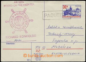 55658 - 1976 CZECHOSLOVAKIA 1945-92  PC posted on the high sea (Air