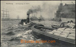55659 - 1911 Hamburg, Schleppzug im port (ship train at the port); U