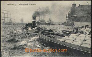 55659 - 1911 Hamburg, Schleppzug im Hafen (lodní vlak v přístavu)