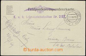 55665 - 1915 lístek FP zaslaný do Čech, razítko FP No.69, útvar