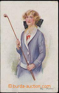 55677 - 1919 GOLF, lady with golfovou holí, inscription We Partner;