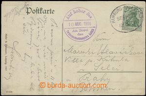 55678 - 1908 GERMANY  postcard transported ship post, with 5Pf Germa