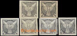 55794 - 1918 Pof.NV1-6 novinové, Sokol, 6ks černotisků na bílém