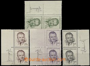 55809 - 1953 Pof.732-35 K.Gottwald, svislé 2-pásky s okraji a podp