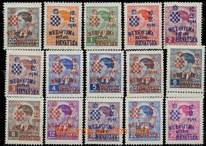 55839 - 1941 Mi.24-38 overprint set complete., mint never hinged, c.