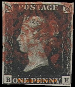 55850 - 1840 Mi.1, Black Penny, letters B-E, wide margins, red postm