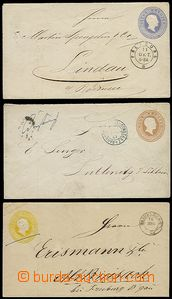 55865 - 1865 BADEN, comp. 3 pcs of postal stationery covers, 1x stmp