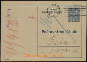 55905 - 1937 CAZ1, really postally Us, MC Prague 25/ 9.VIII.37, post
