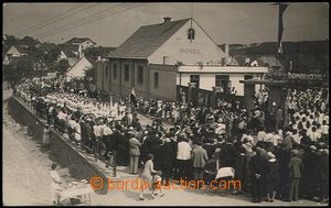 55933 - 1930? Dubí - procession before/(in front of) Sokol house,