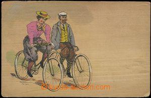55942 - 1900? dýha, cyklistka a cyklista, barevná kresba na dýze, DA