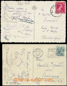55952 - 1938 SPORTSMEN,  2 pcs of Ppc with signatures Czechosl. foot