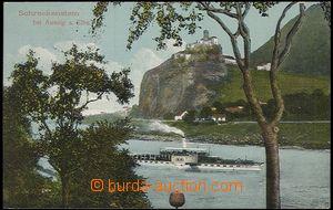55958 - 1911 Střekov - pohled přes Labe, hrad, parník, použiá,