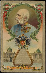 55969 - 1908 FRANZ JOSEF I.   barevná lito, poprsí panovníka ve v