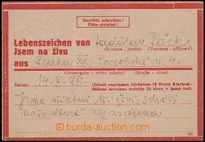 56039 - 1945 CSZ1 na růžovém papíru s orámováním, zaslaná z Prahy ná