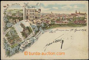 56138 - 1896 Broumov (Braunau) - litografická koláž, pomník cís